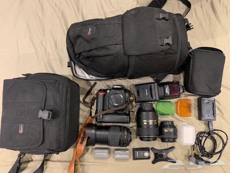كاميرا نيكون D90 nikon وعدسة زوم وحقيبة ظهر